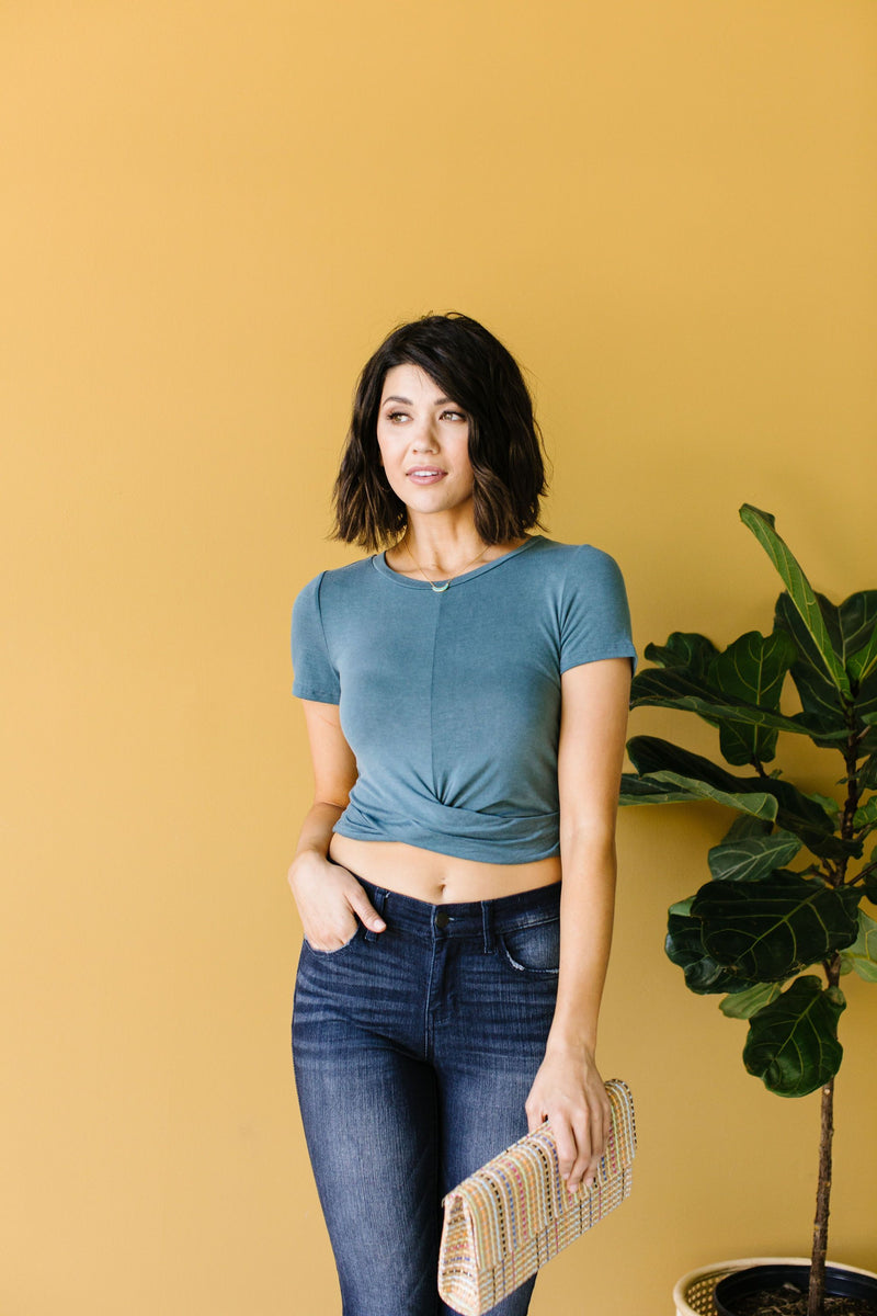 Twisted Crop Top In Teal-5-21-2020, 5-29-2020, BFCM2020, Bonus, Group A, Group B, Group C, Group D, Large, Medium, Small, Tops-Womens Artisan USA American Made Clothing Accessories