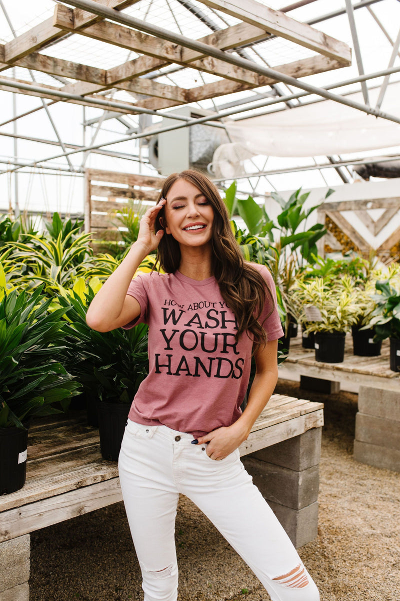 Wash Your Hands Graphic Tee-2XL, 3XL, 4-28-2020, Bonus-5/06/20, Group A, Group B, Group C, Large, Medium, Plus, Small, Tops, Warehouse Sale, XL, XS-Womens Artisan USA American Made Clothing Accessories