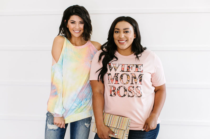 Wife Mom Boss Graphic Tee-2XL, 3XL, 5-1-2020, Final Few Friday, Group A, Group B, Group C, Group D, Group T, Large, Made in the USA, Medium, Plus, Small, Tops, XL, XS-Womens Artisan USA American Made Clothing Accessories