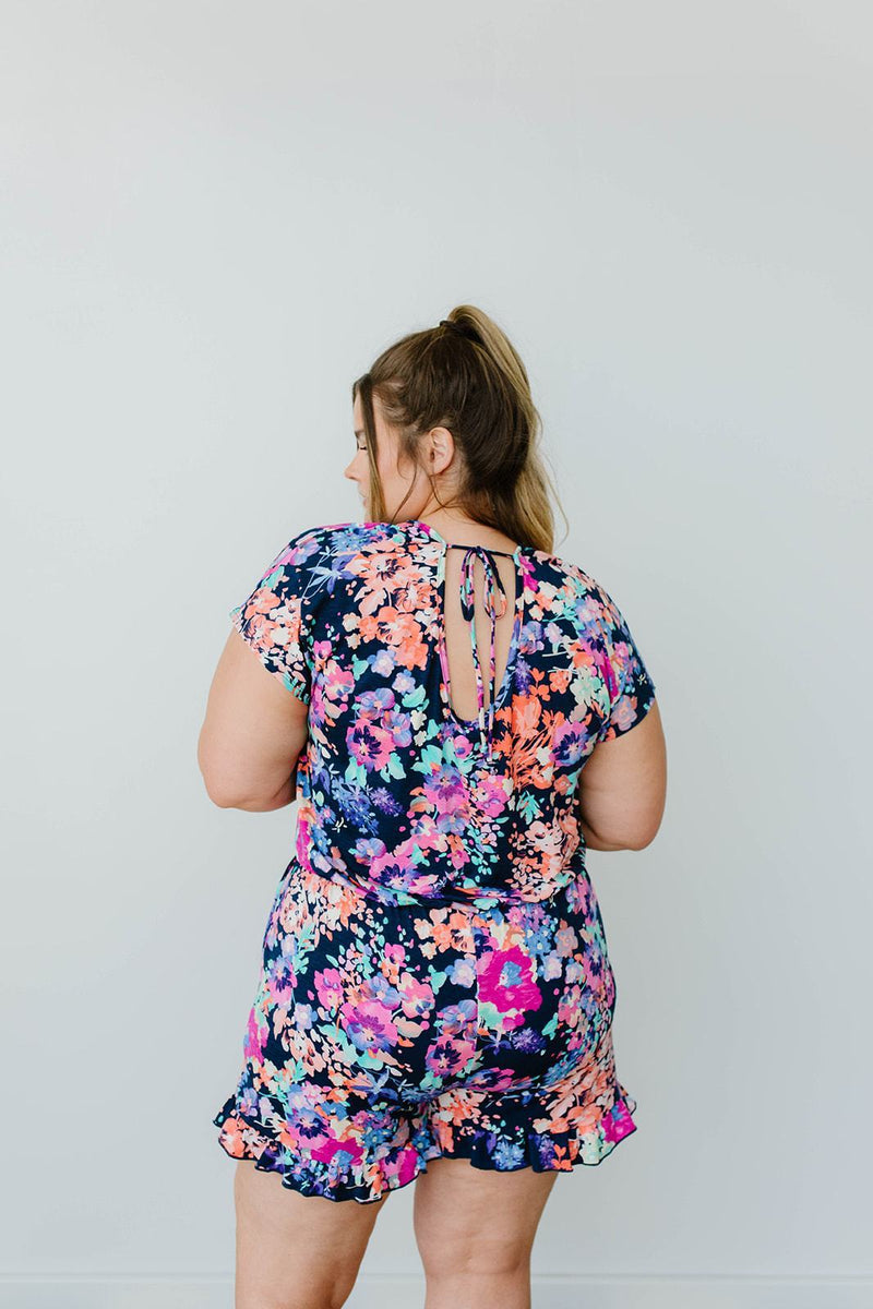 Wild Flower Meadow Romper-1XL, 2XL, 3XL, 8-12-2020, 8-6-2020, Bonus, Bottoms, Group A, Group B, Group C, Group D, Large, Medium, Plus, Small, XL, XS-Womens Artisan USA American Made Clothing Accessories