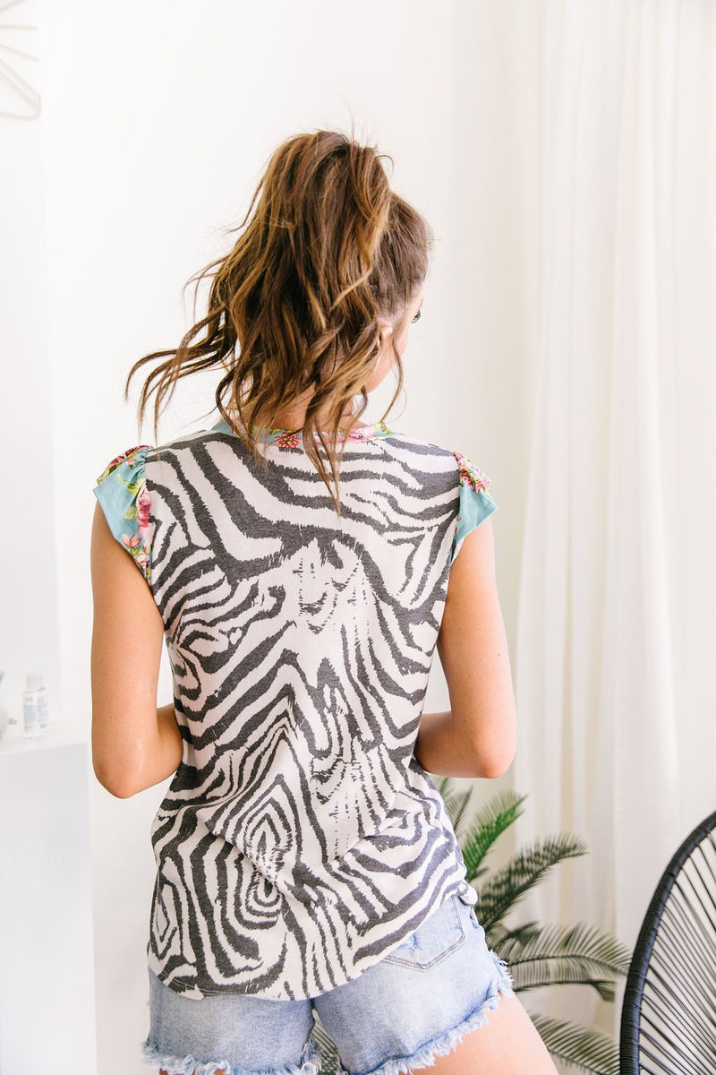 Zany Zebra Top-1XL, 2XL, 3XL, 7-16-2020, 7-24-2020, BFCM2020, Bonus, Final Few Friday, Group A, Group B, Group C, Group D, Group T, Large, Made in the USA, Medium, Plus, Small, Tops, XL, XS-Womens Artisan USA American Made Clothing Accessories