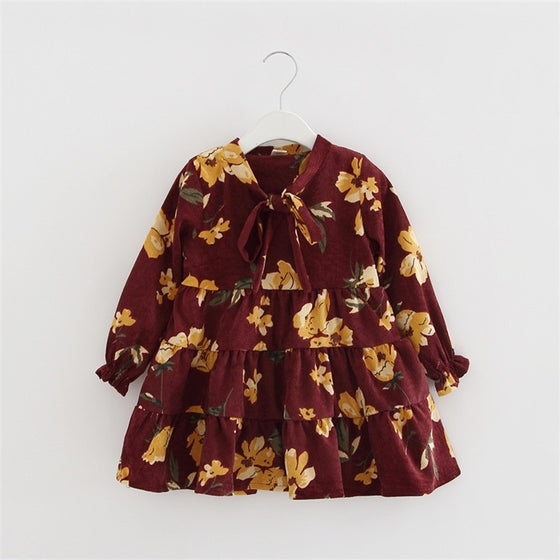 Valencia Floral Long Sleeve Dress - Patter Panda Infant & Toddler Clothing