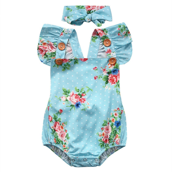 Sara Floral Printed Romper Set - Patter Panda Infant & Toddler Clothing