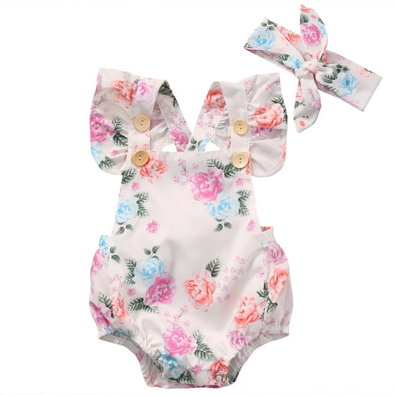 Jenna Floral Printed Romper + Headband Set - Patter Panda Infant & Toddler Clothing