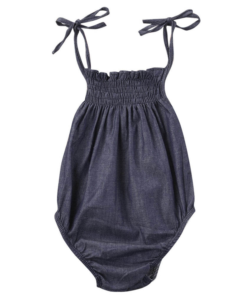 Lynne Denim Summer Romper - Patter Panda Infant & Toddler Clothing