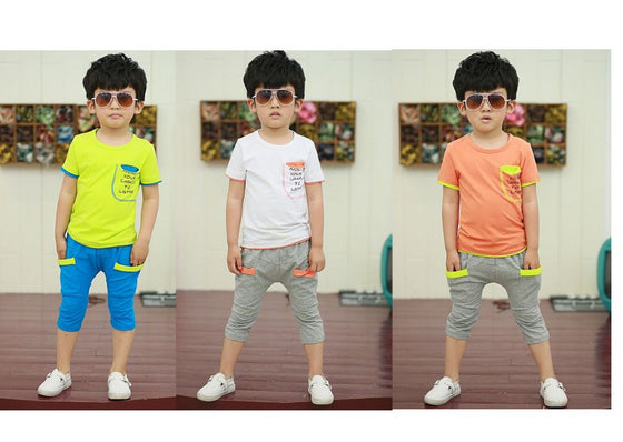 Lyle  boys  summer sets  Short shirt + pants 2 piece set  high quality active Set