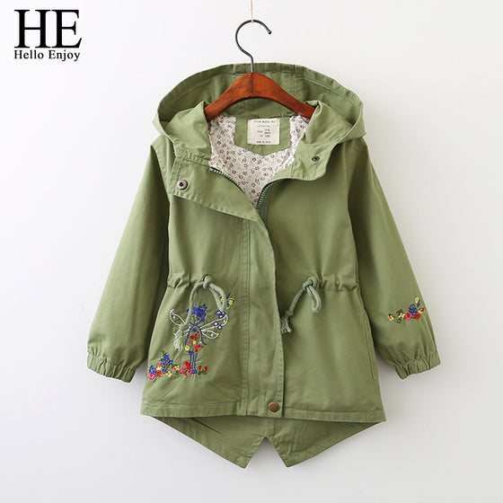 Kelly  Girls  Jackets  Windbreaker Parka Green Hooded Embroidery Trench Coat