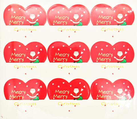 Christmas Stickers Sheet - Santas Claus & Heart (9 Stickers)