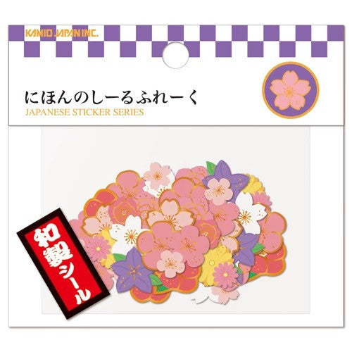 Kamio Japan Traditional Japanese 40-Piece Sticker Series - Flower