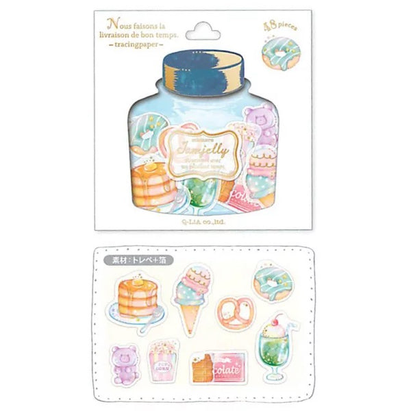 Q-Lia Jamjelly Tracing Paper 48-Piece Sticker Series - Donuts