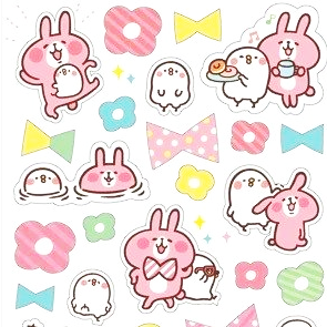 Kanahei Cheerful Rabbit Usagi and Staid Bird Piske Sticker Series - Bow Tie