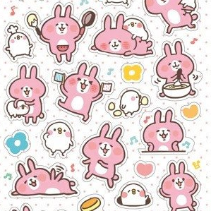 Kanahei Cheerful Rabbit Usagi and Staid Bird Piske Sticker Series - Pancake