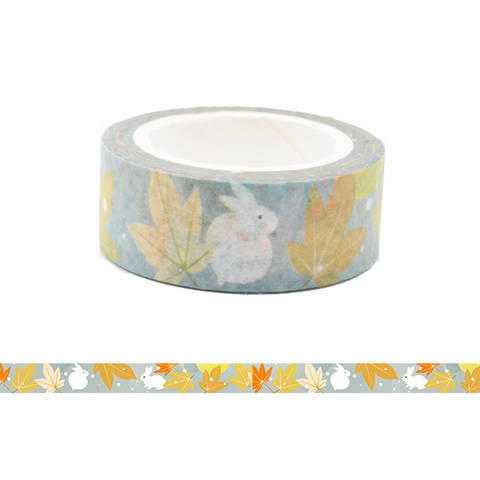Rabbit and Autumn Leave Washi Tape