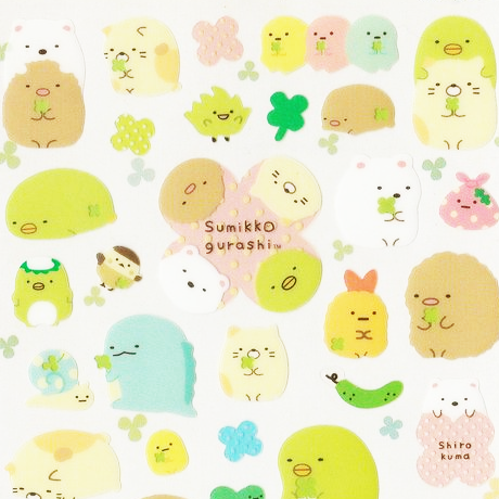 "SAN-X Sumikko Gurashi ""Things in the Corner"" Sticker Sheet Series - 4 Leaf Clover"