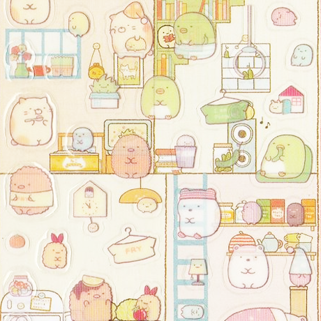 "SAN-X Sumikko Gurashi ""Things in the Corner"" Sticker Sheet Series - Home Sweet Home Set 2"