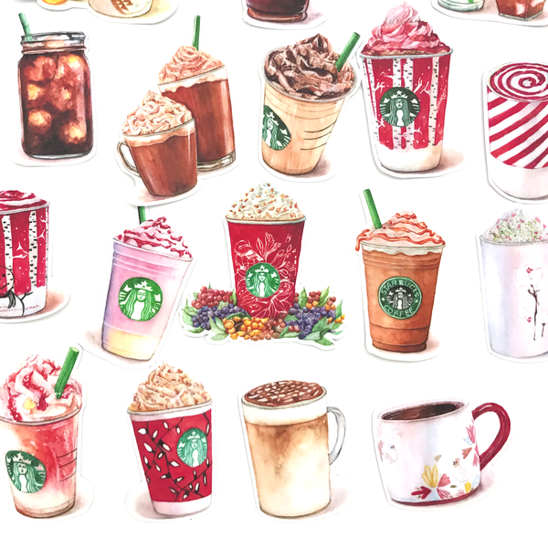 Starbucks Coffee Stickers (17 pieces) - Set D (Christmas Style)