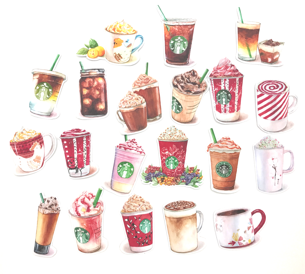 Starbucks Coffee Stickers (17 pieces) - Set D (Christmas Style ...