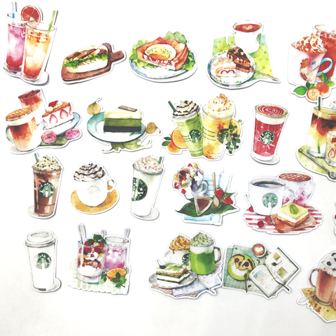Starbucks Coffee Stickers (23 pieces) - Set E (Watercolor)