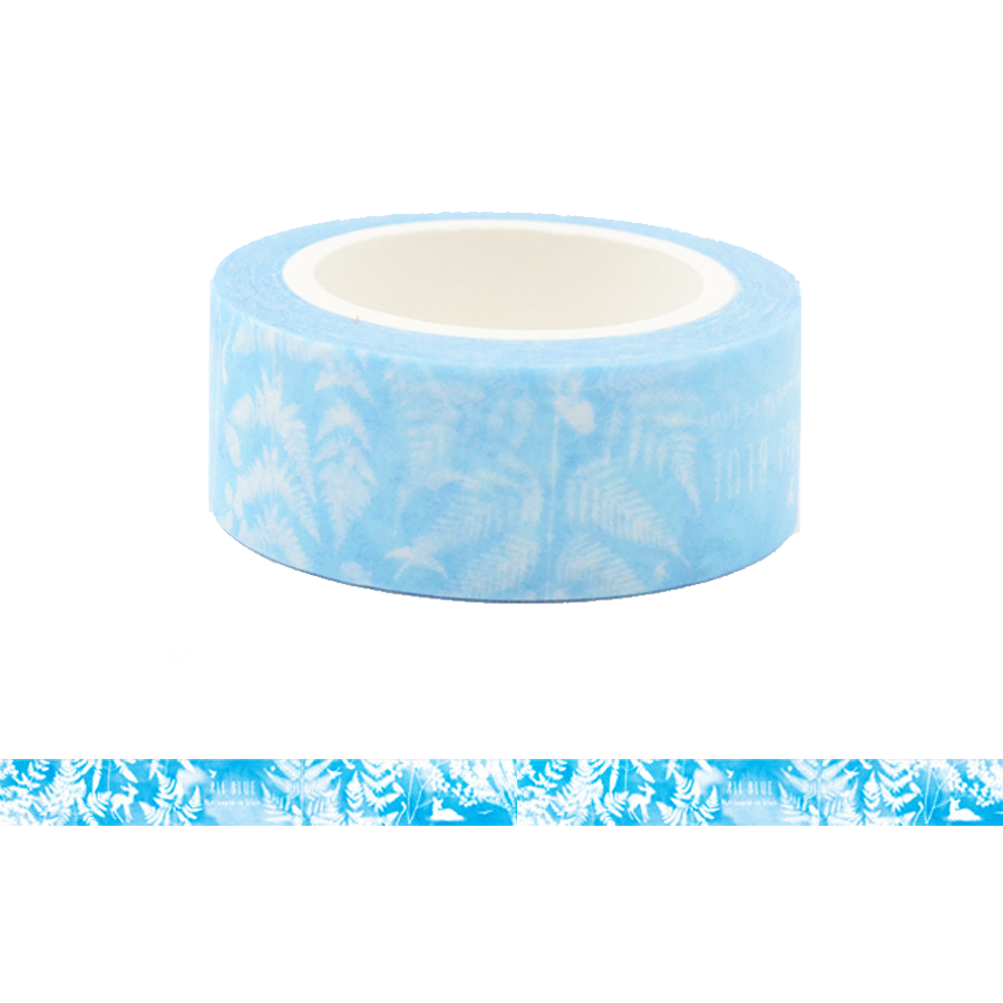 Fern Tree Leaves in Blue Background Washi Tape