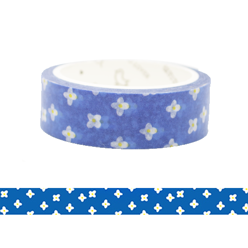 Flowers in Blue Background Washi Tape