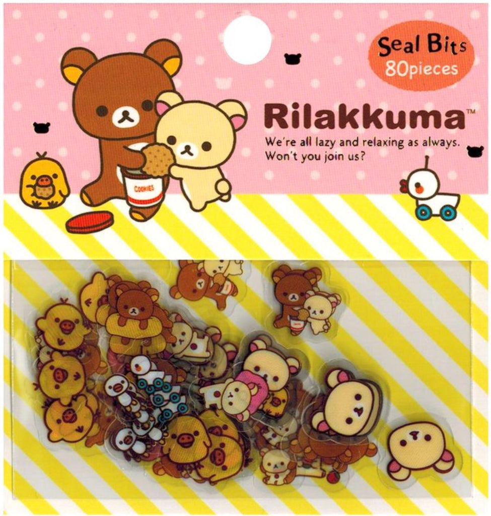 SAN-X Rilakkuma Transparent 80-Piece Sticker Series - Pink