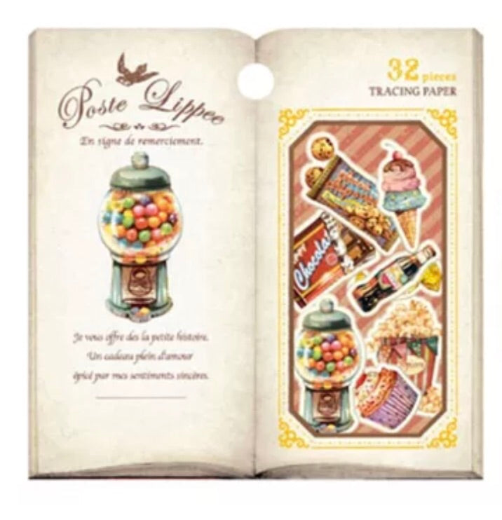 Q-Lia Poste Lippee Tracing Paper Stickers - Gimball machine