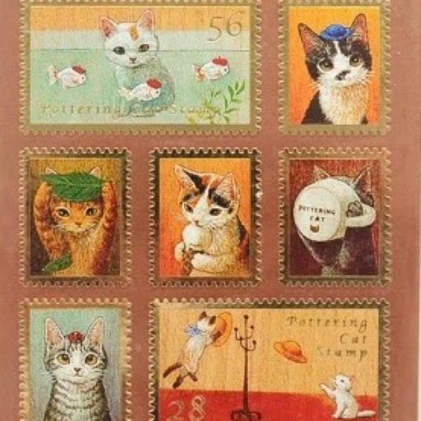 Golden Edge Cute Cat Stamp Sticker (Collection 4)