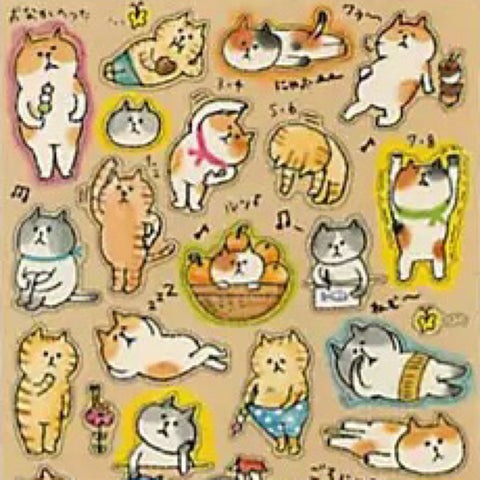 Mind Wave Gorogoro Nyansuke Lazy  Cat Stickers (Card Board Paper)
