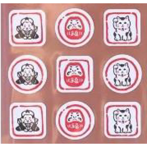 Frontiersman Japanese Stamp Daruma and Cat Sticker Series