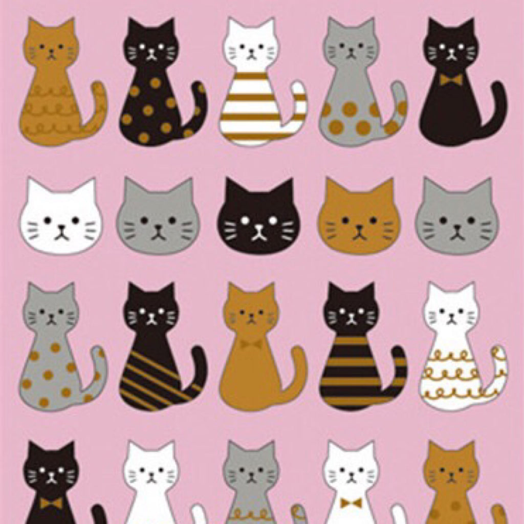 Mind Wave Cute Cats in Pink Background Stickers