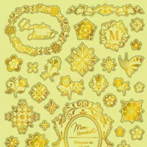 Mind Wave Gold Foil Series Stickers - Flowers