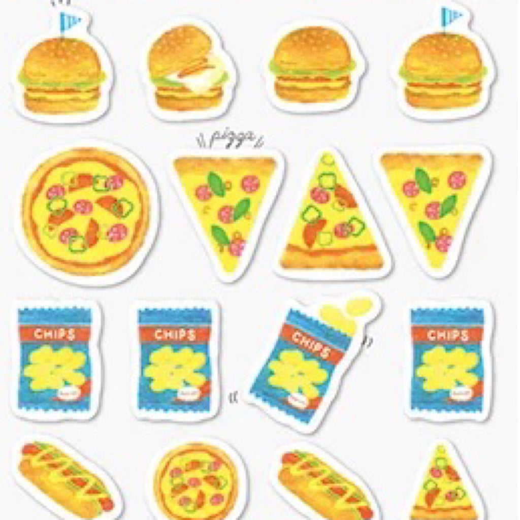 Q-Lia Yuru Maste Hamburger & Pizza Stickers