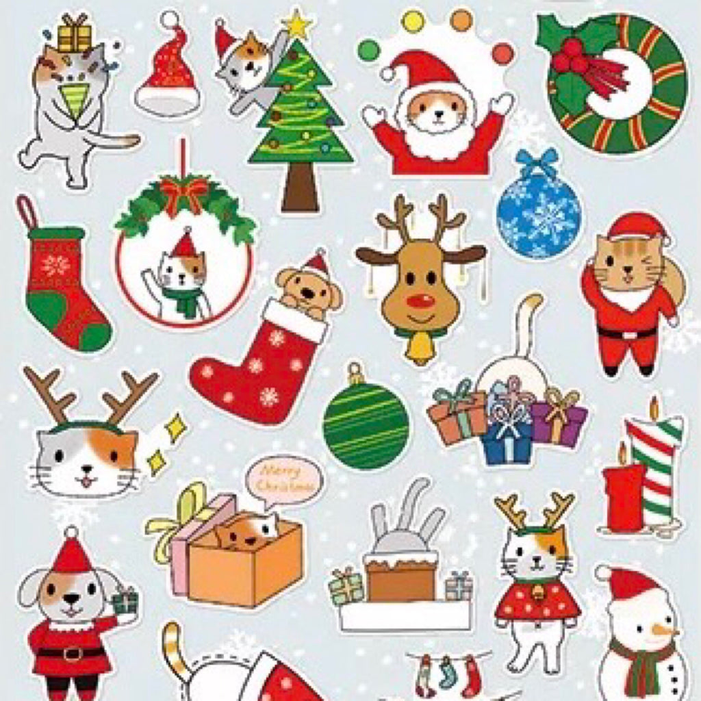 Merry Christmas Stickers - Christmas Dog & Cat (Gray)