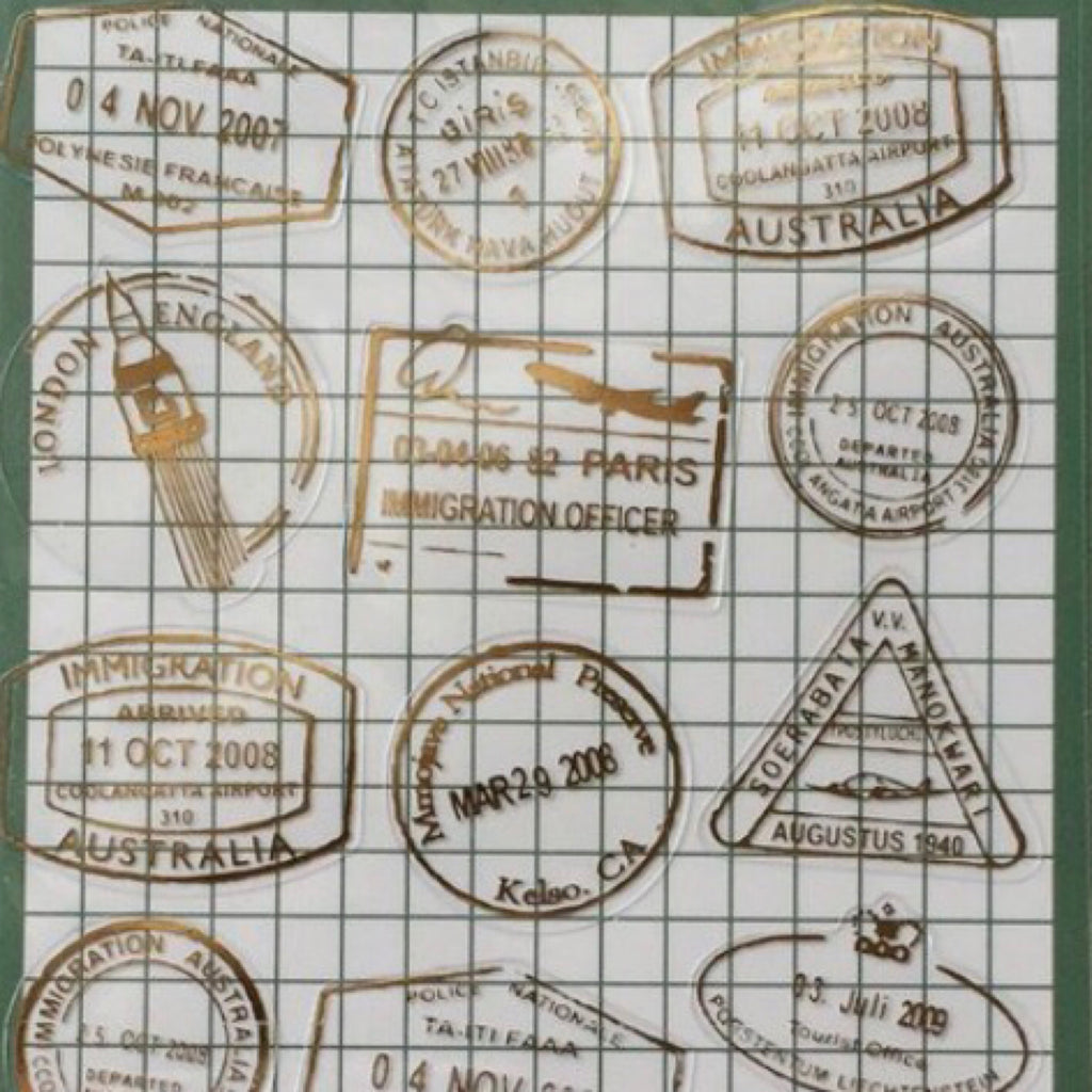 Gold Foil Stickers Series - Immigration Stamp
