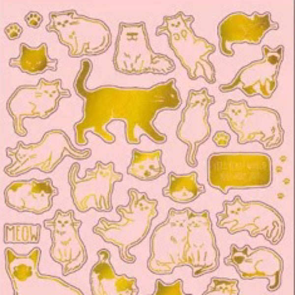Mind Wave Gold Foil Stickers Series - Cats
