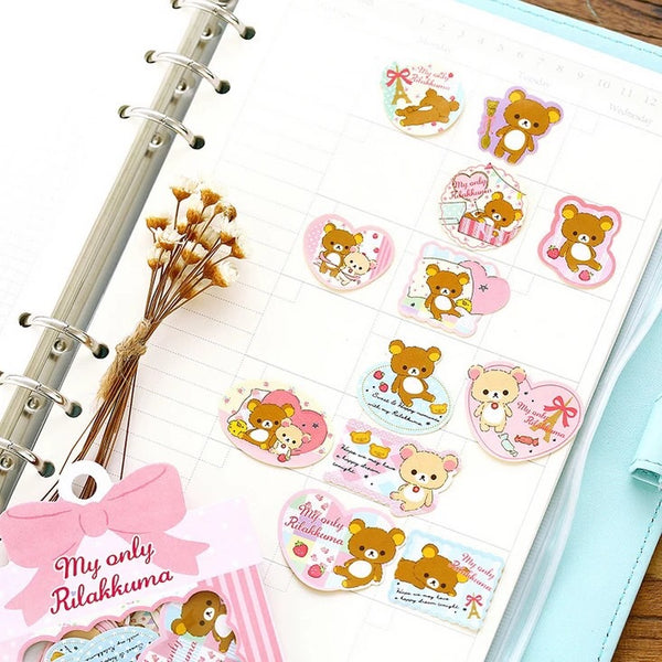 SAN-X Rilakkuma 60-Piece Sticker Series - Pink Ribbon