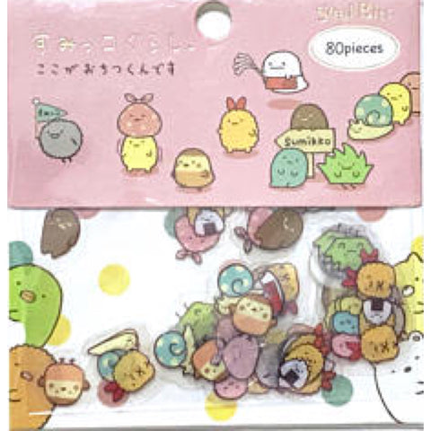 "SAN-X Sumikko Gurashi ""Things in the Corner"" Transparent 80-Piece Sticker Series - Pink"