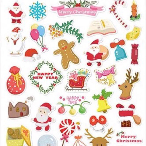 Merry Christmas Stickers - Santa Claus & Christmas Decorations (White)