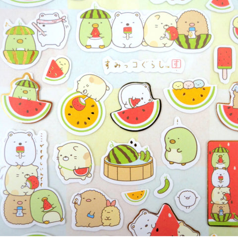 "SAN-X Sumikko Gurashi ""Things in the Corner"" Sticker Sheet Series - Watermelon Set 1"