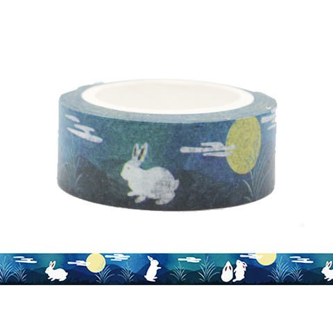 Rabbit and the Moon Washi Tape (Green)
