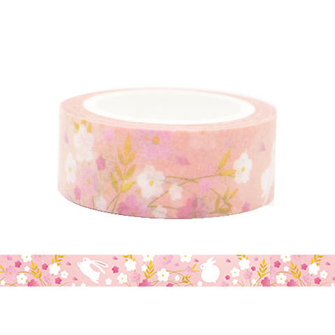 Rabbit in the Flower Land Washi Tape (Pink)