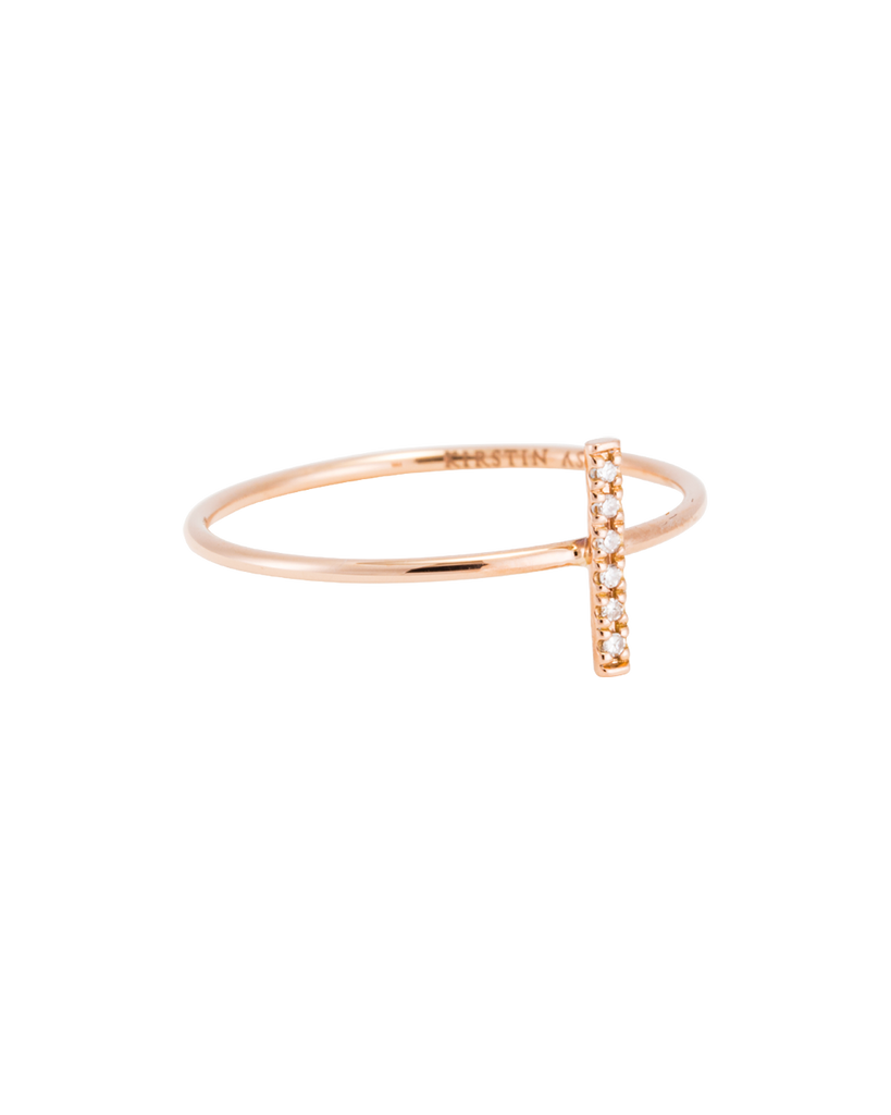 DIAMOND BAR RING (14K ROSE GOLD) Image 01