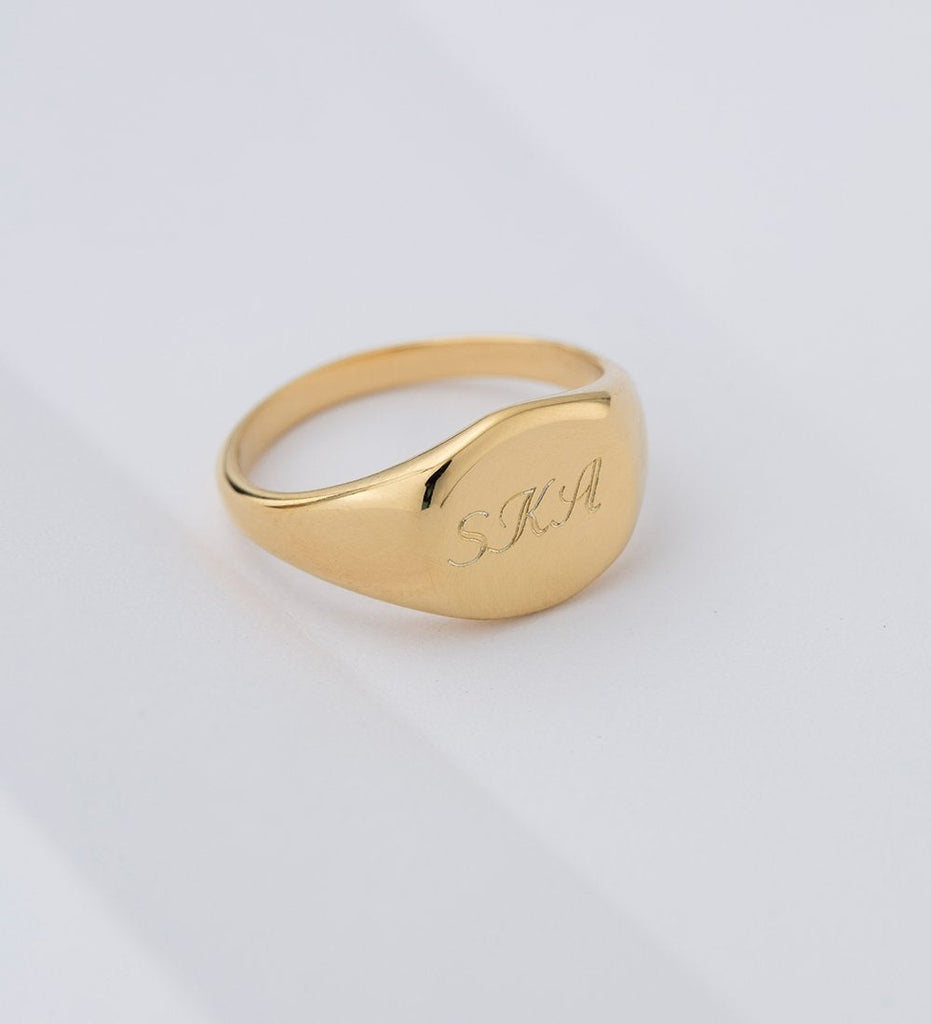 ENGRAVABLE SIGNET RING (18K-ROSE GOLD-VERMEIL)