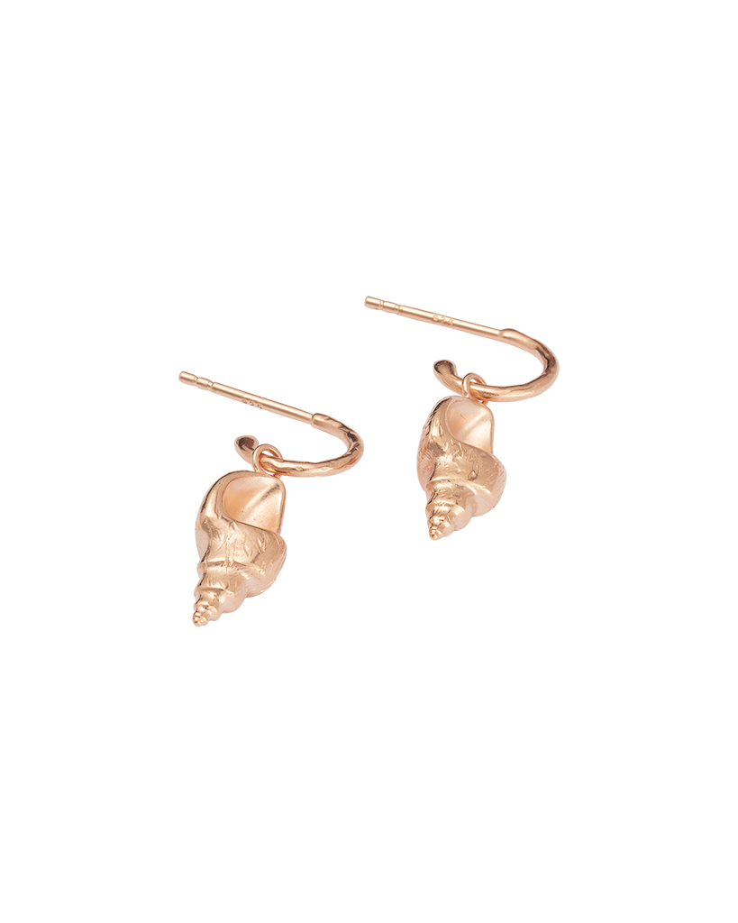 CONCH SHELL HOOPS (18K-ROSE GOLD-PLATED)-SIDE