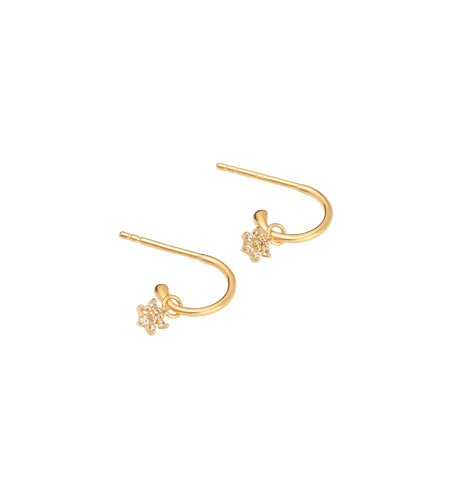 CRYSTAL FLOWER HOOPS (18K-GOLD-PLATED)-SIDE