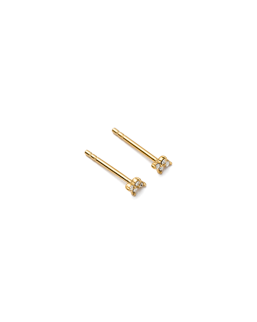 CRYSTAL FOUR DOT STUDS (18K-GOLD-PLATED) - 02