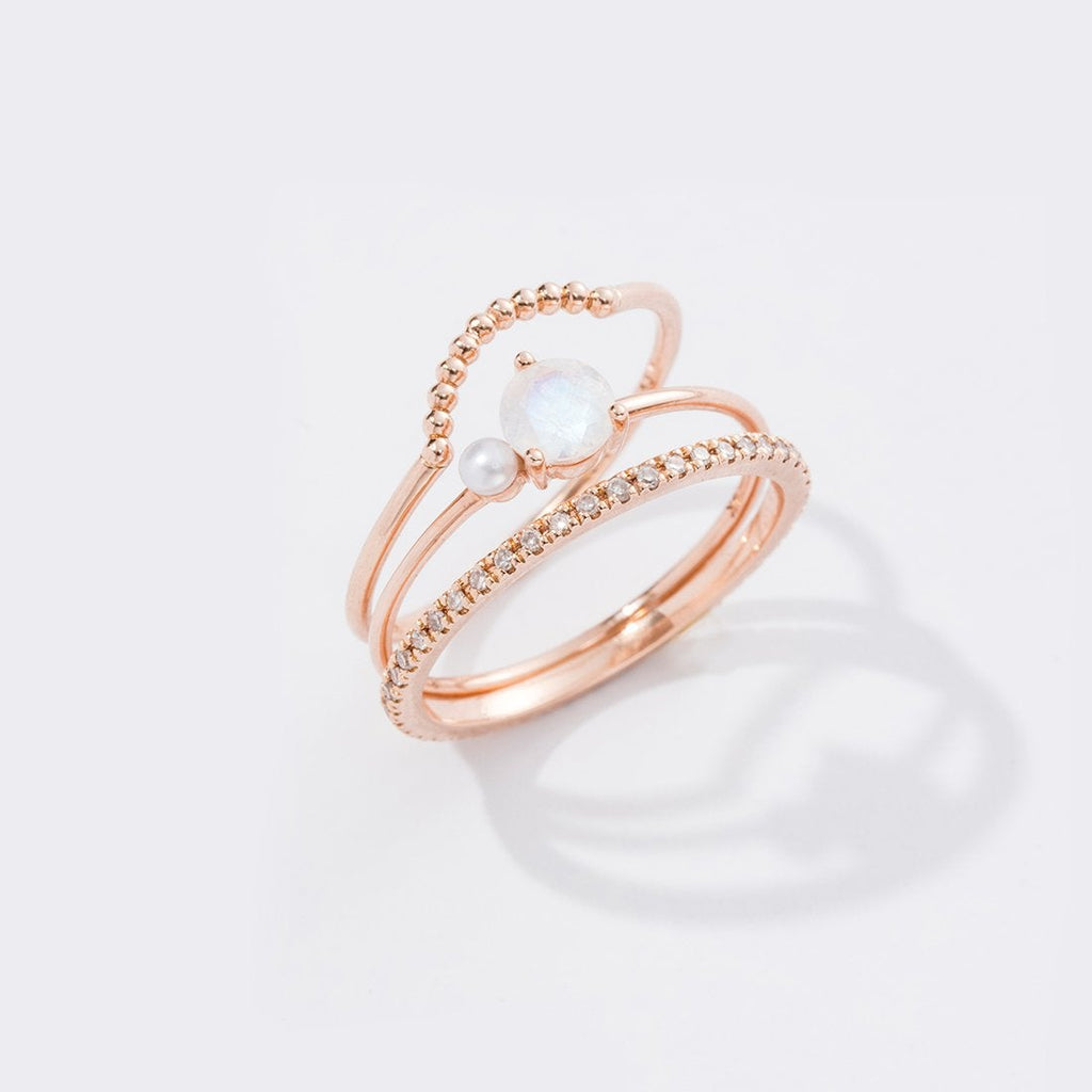 MOONSTONE PEARL RING (14K GOLD) Image 04