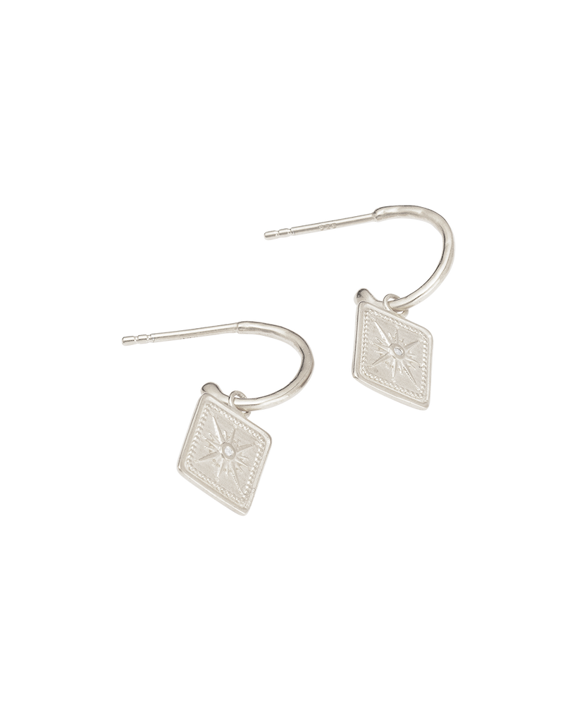 TRUE NORTH HOOPS (STERLING SILVER)-SIDE