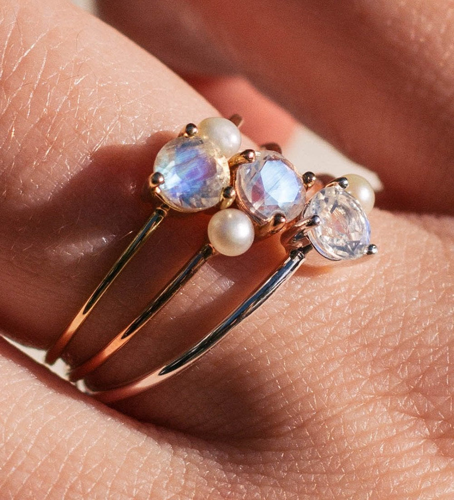MOONSTONE PEARL RING (14K GOLD)