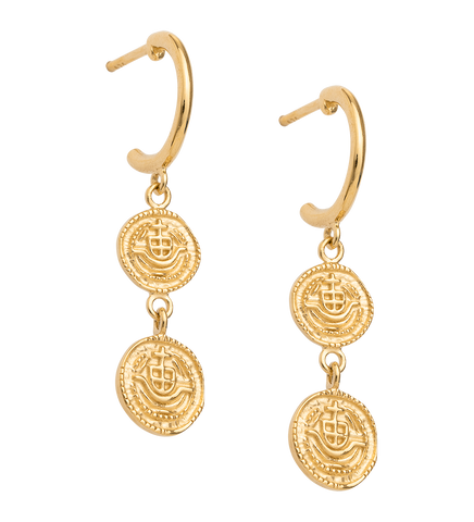 LOST TREASURE HOOPS (18K-GOLD-PLATED)